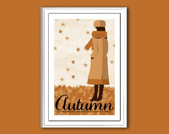 Autumn, or Fall, retro poster print in various sizes