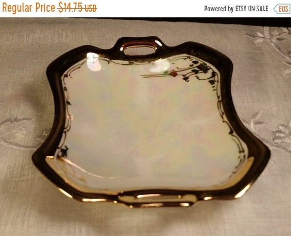 Sale Clearance Tillowitz Porcelain Double Handled Tray Vintage Germany Porcelain Gold Trim Opalescent Trinket Dish Square Jewelry Tray Pin D