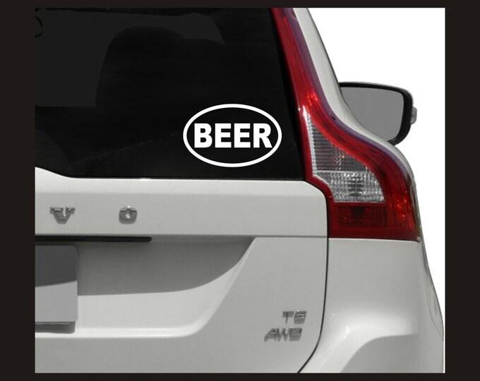Beer vinyl oval decal, beer decal, beer sticker, oval beer decal, oval beer sticker, beer lover decal, beer drinker decal, oval BEER decal