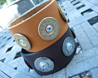 Annie Get Your Gun 12 Gauge Spent Shotgun Bullet Shells YOU CHOOSE Black or Brown/Tan Leather Bracelet Band
