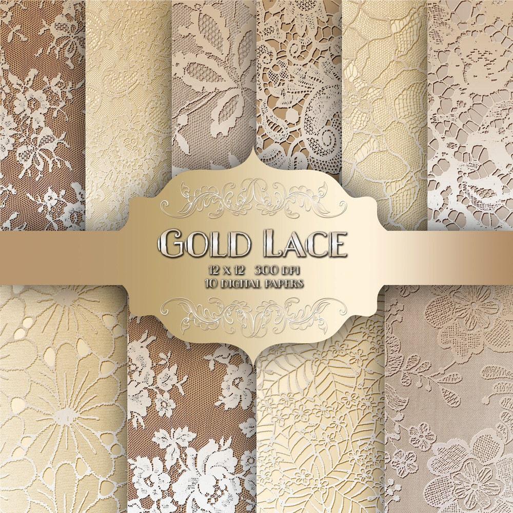 Gold LACE Digital Paper Pack - Vintage wedding metal gold lace ...