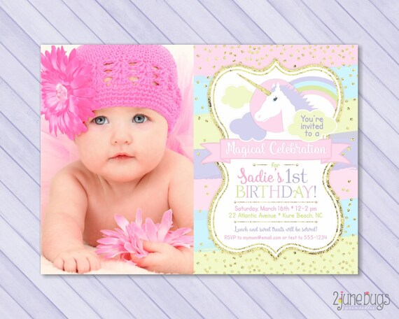 Unicorn first birthday invitation unicorn 1st birthday stopboris Choice Image