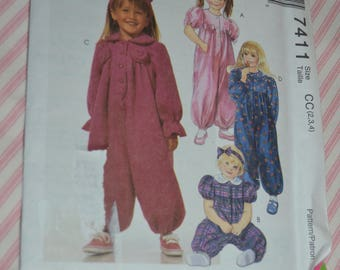 McCalls 7411 Toddlers Jumpsuit with Optional Snap Crotch and Headband Sewing Pattern - UNCUT  - Size 2 3 4