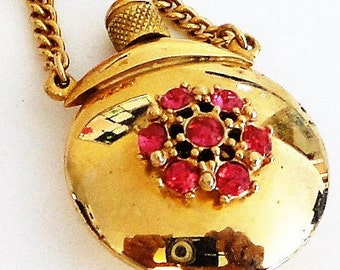 Gold Tone Pink Rhinestone Dabber Brooch Mid-Century Perfume Vial Vintage Costume Jewelry