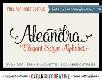 Full Alphabet SVG Fonts Cutfile - Elegant Swash Script cricut font - DXF EPS Silhouette Cricut - commercial use clean cutting digital files
