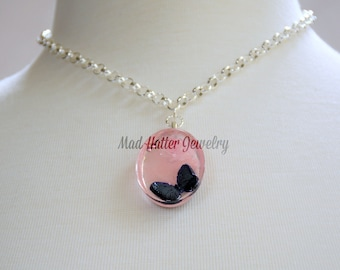 Pink Rose with a Black Butterfly Necklace