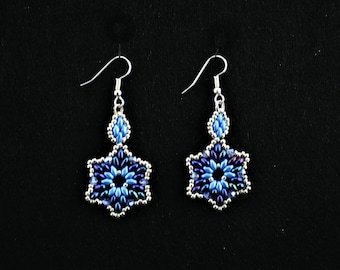 Beaded Blue Star Earrings