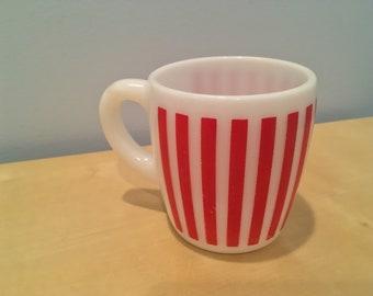 Vintage Hazel Atlas Red Striped Coffee Mug