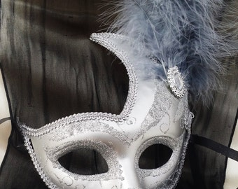 Half-face Masquerade Mask All Silver With Grey Feathers/Mardi Gras Mask/ Halloween Mask/Party Mask/Silver mask/New Orleans carnival/Ladies