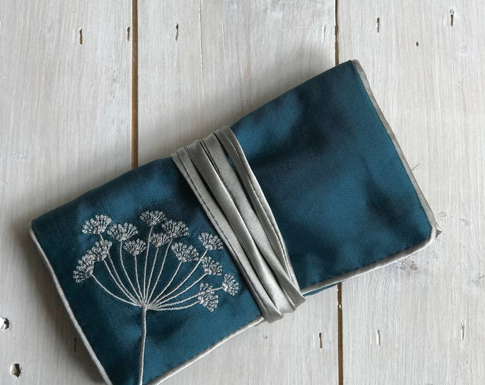 Handmade Silk Jewellery Roll,  Embroidered, Teal silk with Flower Embroidery