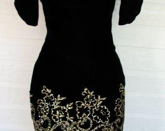 1980s Velvet Dress LBD McClintock Gunne Sax Party Dress Black