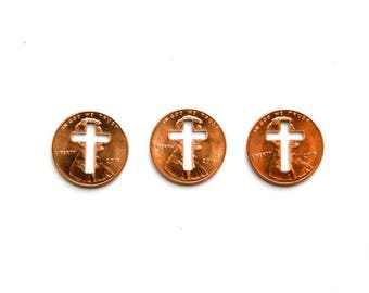 Cross Penny - 3 cross pennies from heaven . baptism favors . cross pendant . copper cross charm . religious gifts . copper gifts
