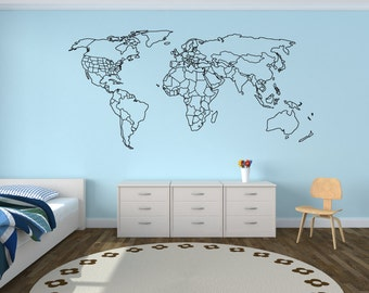 World map outline etsy large world map wall decal with outlined countries and united states world map sticker gumiabroncs Gallery