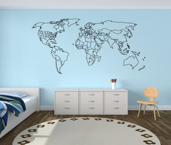 Large World Map Wall Decal With Outlined Countries And United