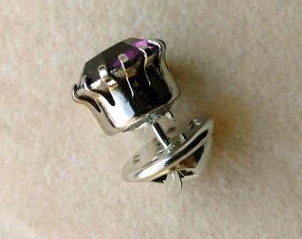 Purple Rhinestone Groom Tie Tack 12 mm, Vintage Round Prong, Purple Tie Pin, Silver Color Tie Tack - Round Tie Tack by enchantedbeas on Etsy