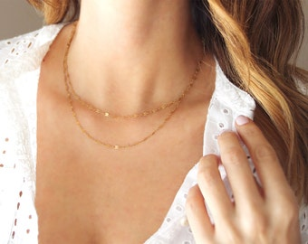 Double Strand Necklace  | 14kt Gold Filled | Delicate Layered Necklace