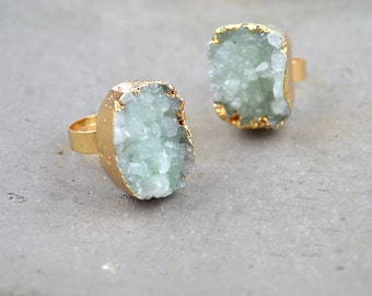 Natural Green Quartz Druzy Ring Raw Rough Green Crystal Quartz Geode Cluster Drusy Ring Adjustable Rings
