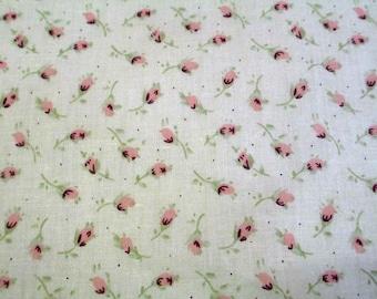 1 cut of fabric has beige flowers pink 20x25cm light 100% cotton