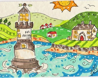 ACEO Lighthouse Original Drawing of Puffin Island, Angelesy Wales, Coast Scene, marker pen illustration  ATC