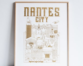Nantes City Gold Limited Edition / 50 x 40 / Illustration / travel / poster / city / wall decor / Map / Design