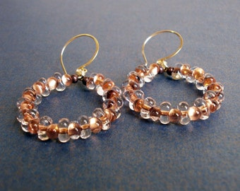 Gold Beaded Open Circle Earrings 14k Gold Fill Hoops with Beads Copper Farfalle Bead Hoop Dangles Texture Earrings Tribal Jewelry