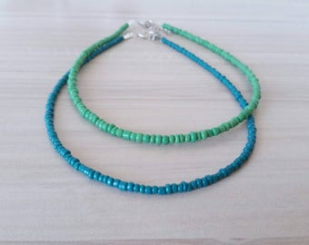 Teal Blue Beaded Choker Necklace, Sea Green Minimal Beaded Necklace, Seed Bead Necklace