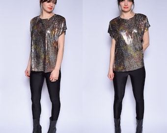 Vintage 80's Black Sequin Blouse / Sleeveless Sequin Blouse - Size Large