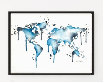 Kids room decal, World Map art, Watercolor map, wanderlust art, Map poster, Map print, Map art gift, Printable art, Nursery art, Travel art