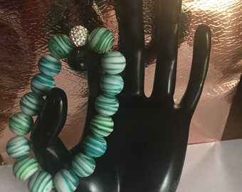 Mothers Day Gift for her, Aqua Beaded Beacelet