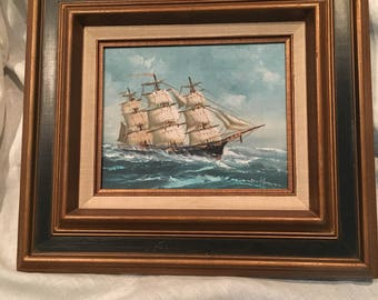 Vintage Signed by Hoffman Acrylic Painting of a Schooner Ship
