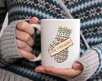 Warm Winter Wishes Mitten White Ceramic Coffee Mug 15 oz.