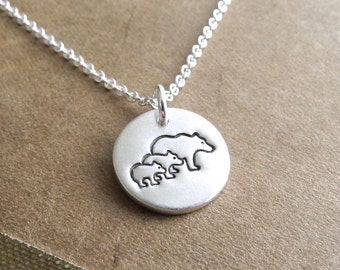 Tiny Mother Bear and Two Cubs Necklace, Mom and Two Kids, Two Children Jewelry, Fine Silver, Sterling Silver Chain, Made To Order