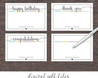 "Rodan and Fields Flat Note Cards 4""x6"" Digital Files Bundle | Square Heart"