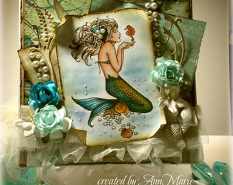 SPECIAL ORDER- Mermaid Handmade Card- Mermaid Beauty- Copic Colored Stampendous Memaid holding Seahorse image- All Occasion