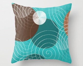 Turquoise Brown Throw Pillow Cover Teal White Tan White Modern Home Decor Living room bedroom accessories Cushion Decorative Pillow Cover