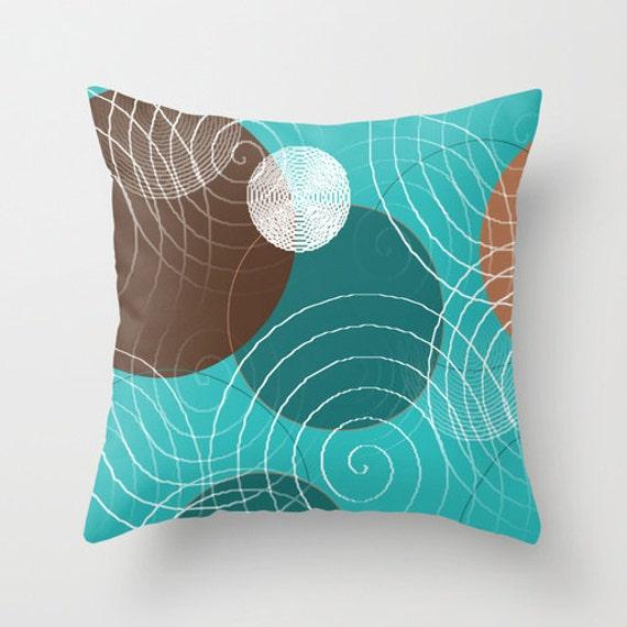 Turquoise Brown Throw Pillow Cover Teal White Tan White Modern