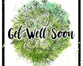 Get Well Soon green bouquet Greeting Illustration Art Card - blank inside