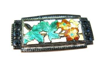 Brooch Victorian Floral Enamel Silver