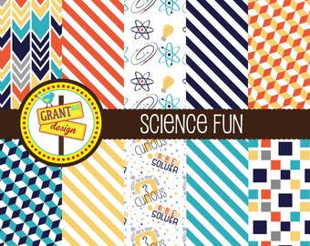 Science Digital Papers - Science Backgrounds for Invitations, Card Design, Scrapbooking, and Web Design