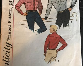Vintage 50s Simplicity 4703 Men's Western Shirt Pattern-Neck 15 Chest 38