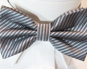 Silver and pewter Gray Stripe Shaped Design PreTied Bow Tie