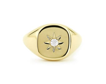Signet Ring / Diamond Signet Ring with Star Setting in 14k Gold / Gold Signet Ring / Index Finger Ring