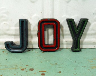 Vintage Alphabet Block Letters Joy Set of Three J O Y