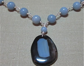 Free Earrings! Brown and Blue Agate and Blue Angelite Necklace - N107