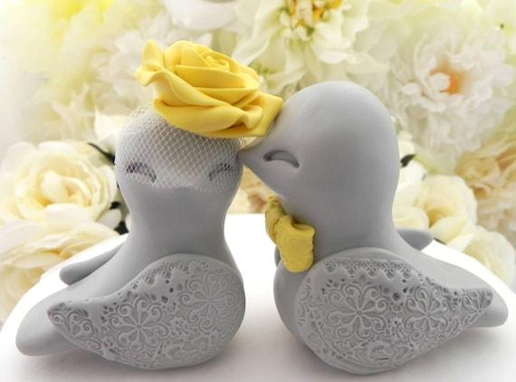 Love Birds Wedding Cake Topper, Grey and Sunny Yellow, Bride and Groom Keepsake, Fully Customizable