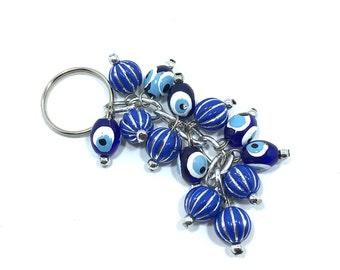 Evil Eye Keychain Blue Spheres, Evil Eye, Evil Eye Key Chain, Hamsa Keychain,  Evil Eye Hamsa (Buy 1 Get 1 FREE & FREE SHIPPING!!!)