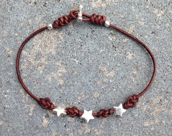 Bracelet Eternity 03 Five-Pointed Stars-Sterling Silver & Leather-Handmade (B203SS-L)