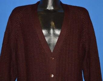 60s Maroon Italian Wool Cardigan Sweater Large
