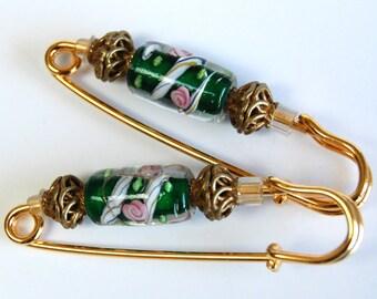 Paire de broche n rassemblement or vert au chalumeau, or vert rose et blanc manche Pin, écharpe Pin, manche Bling