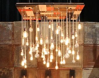 Unique Mid-Century Modern Chandelier - Custom Industrial Chandelier, Extreme Bare Bulb Lighting, Large Room Chandelier
